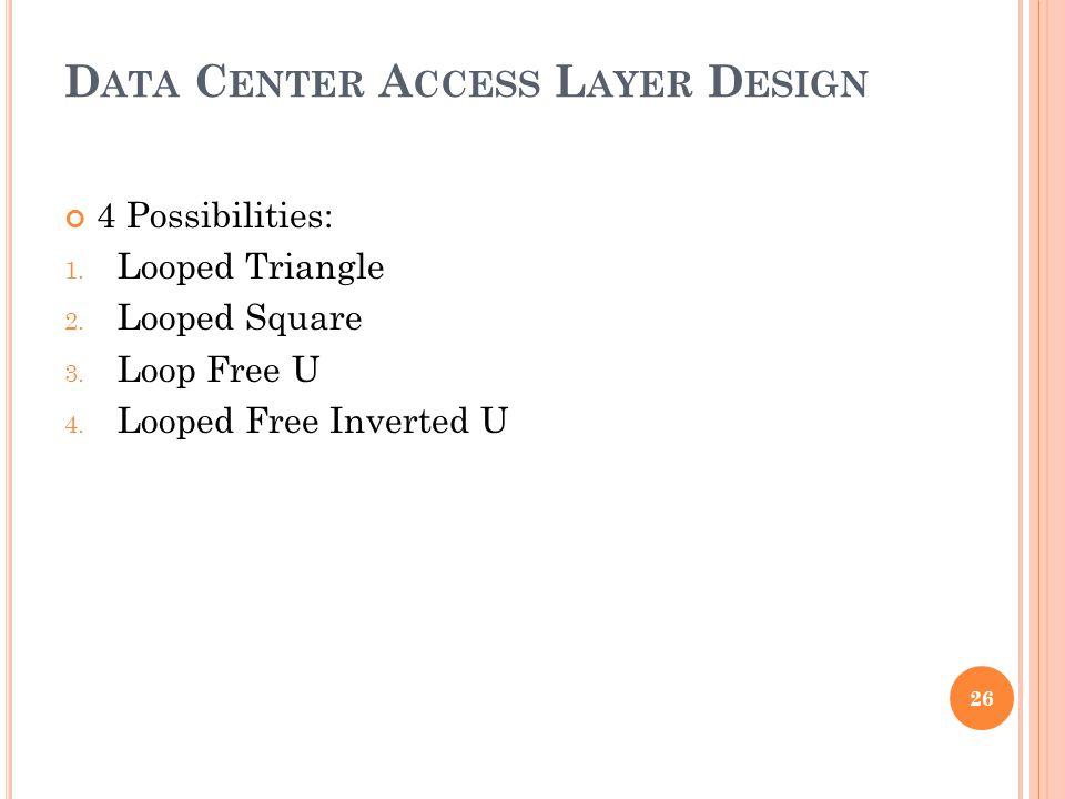 D ATA C ENTER A CCESS L AYER D ESIGN 4 Possibilities: 1.