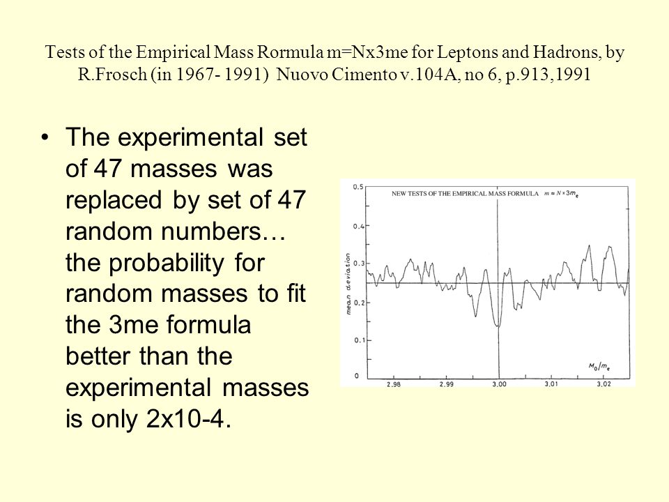 Tests of the Empirical Mass Rormula m=Nx3me for Leptons and Hadrons, by R.Frosch (in 1967- 1991) Nuovo Cimento v.104A, no 6, p.913,1991 The experimental set of 47 masses was replaced by set of 47 random numbers… the probability for random masses to fit the 3me formula better than the experimental masses is only 2x10-4.