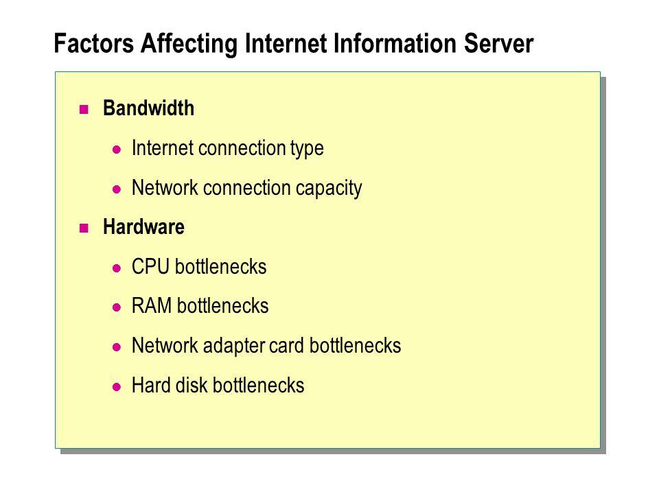 Factors Affecting Internet Information Server Bandwidth Internet connection type Network connection capacity Hardware CPU bottlenecks RAM bottlenecks Network adapter card bottlenecks Hard disk bottlenecks