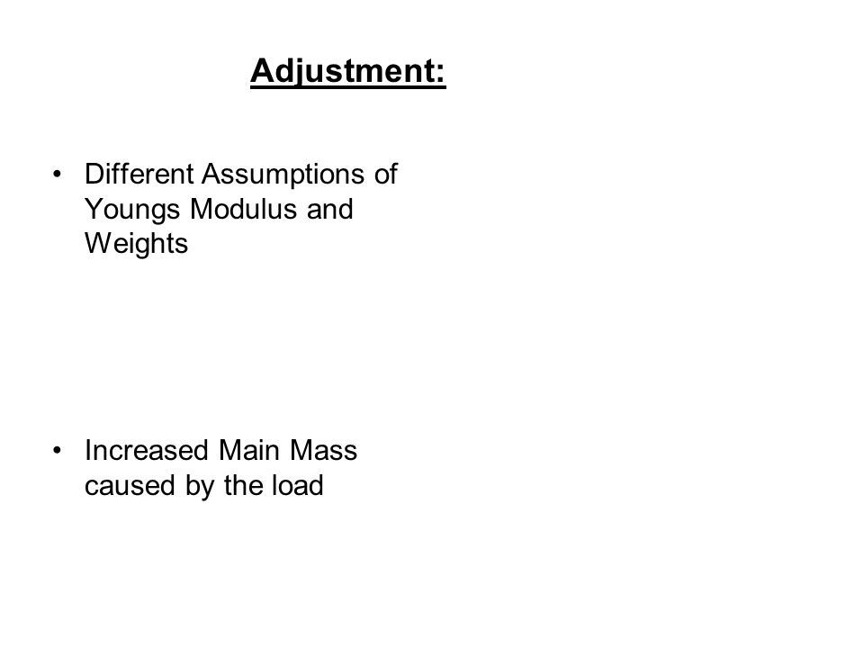 Different Assumptions of Youngs Modulus and Weights Increased Main Mass caused by the load Adjustment: