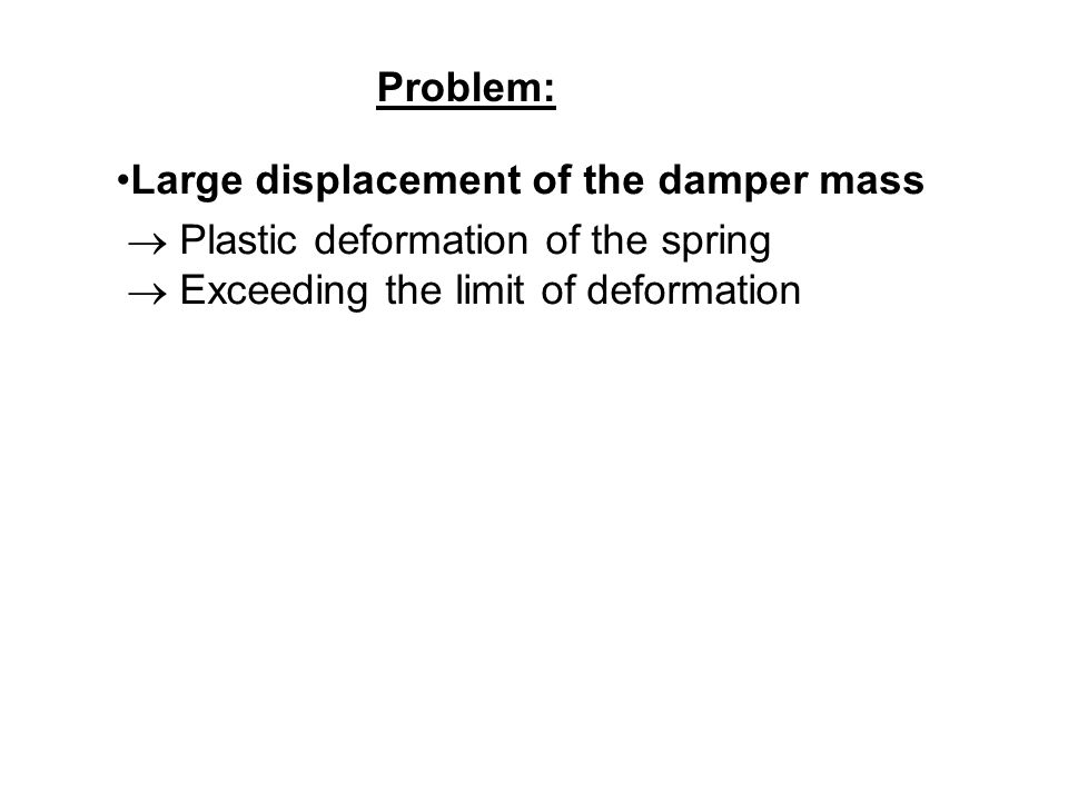 Large displacement of the damper mass Plastic deformation of the spring Exceeding the limit of deformation Problem: