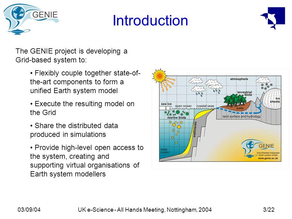 03/09/04UK e-Science - All Hands Meeting, Nottingham, 200414/22 Grid Computation OptionsMatlab National Grid Service (GT2) OxfordLeeds RALManchester Local Resource (GT2) GENIE Database objfun.mobjfun_parse.m optjobparallel.m
