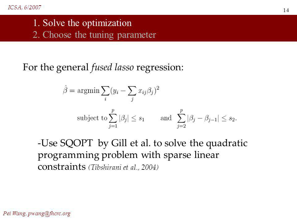 ICSA, 6/2007 Pei Wang, pwang@fhcrc.org 14 1. Solve the optimization 2. Choose the tuning parameter For the general fused lasso regression: -Use SQOPT
