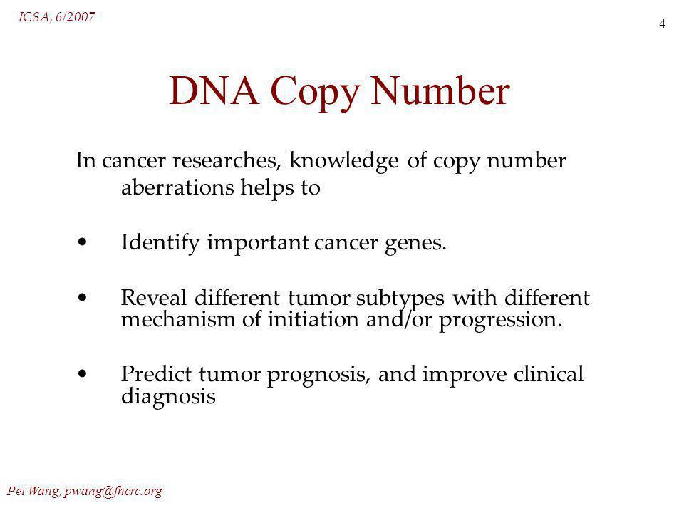 ICSA, 6/2007 Pei Wang, pwang@fhcrc.org 5 Array CGH array Comparative Genomic Hybridization.