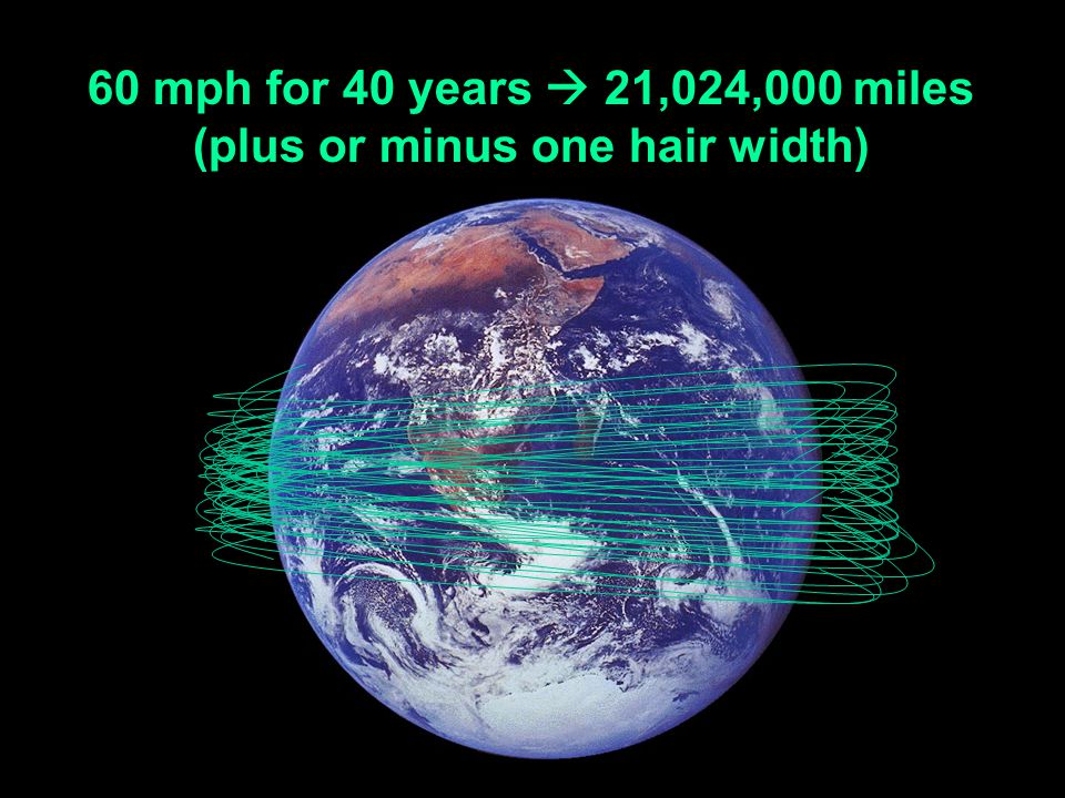 60 mph for 40 years 21,024,000 miles (plus or minus one hair width)