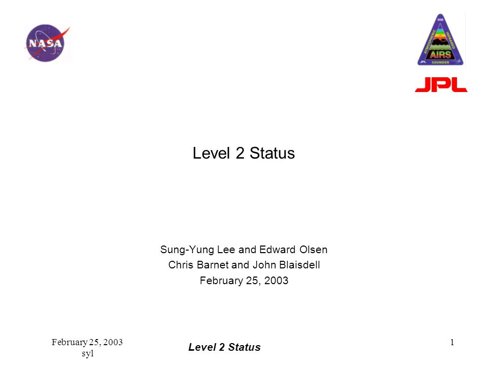 Level 2 Status February 25, 2003 syl 2 Summary V2.7 Delivered to DAAC –Functioning level 2 –Good yield over ocean surface –Bias only tuning –Coefficient update planned No regression step without coefficient update Convergence of GSFC research version and Team software.
