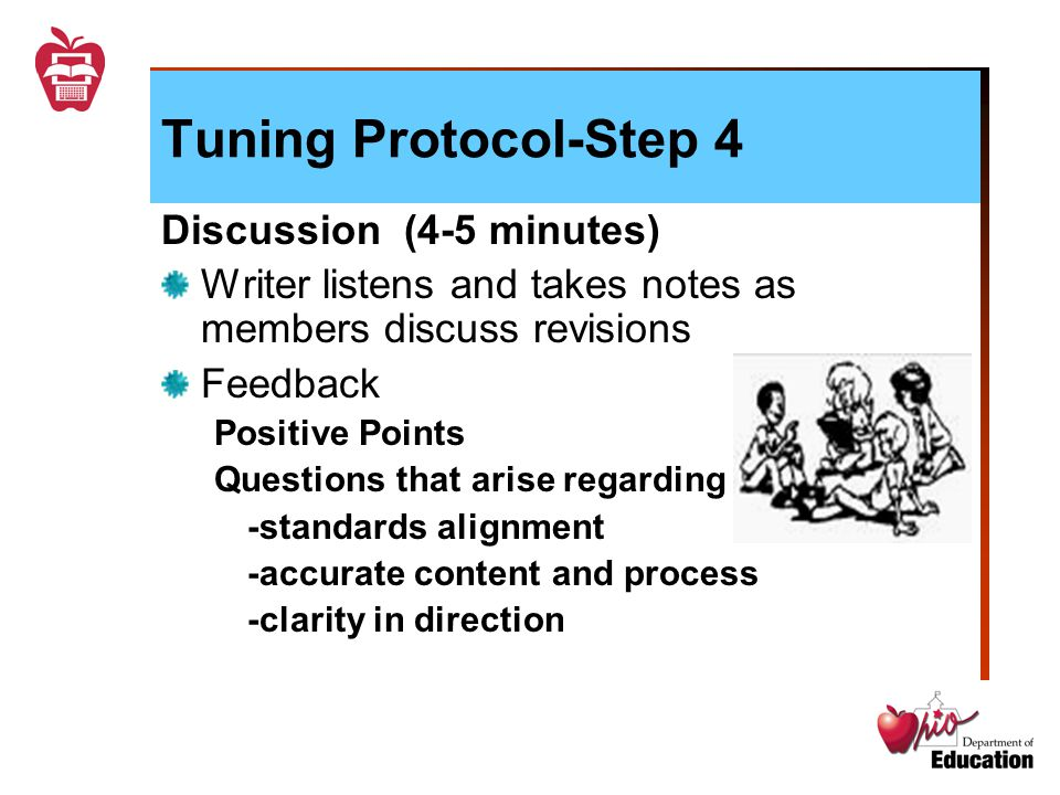 Tuning Protocol-Step 4 Discussion (4-5 minutes) Writer listens and takes notes as members discuss revisions Feedback Positive Points Questions that arise regarding -standards alignment -accurate content and process -clarity in direction