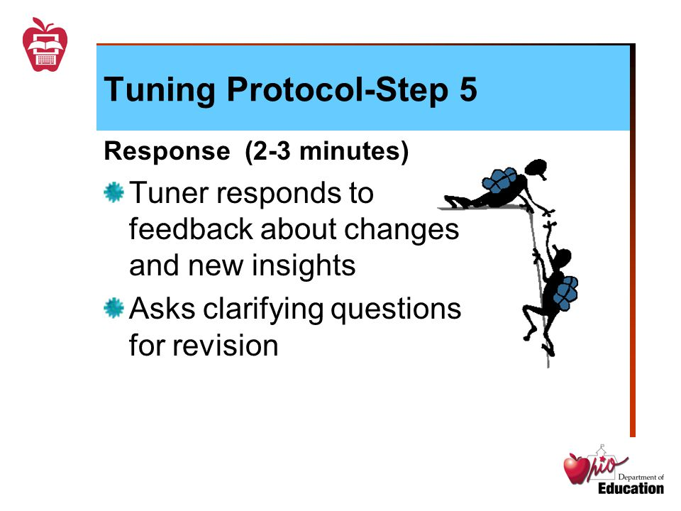 Tuning Protocol-Step 5 Response (2-3 minutes) Tuner responds to feedback about changes and new insights Asks clarifying questions for revision