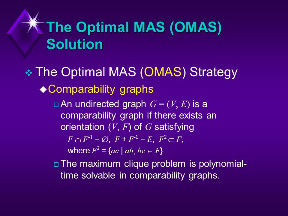The Optimal MAS (OMAS) Solution v The Optimal MAS (OMAS) Strategy u Comparability graphs An undirected graph G = (V, E) is a comparability graph if there exists an orientation ( V, F ) of G satisfying F F -1 =, F + F -1 = E, F 2 F, where F 2 = { ac | ab, bc F } o The maximum clique problem is polynomial- time solvable in comparability graphs.