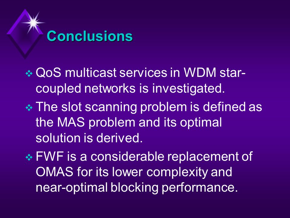 Conclusions v QoS multicast services in WDM star- coupled networks is investigated.