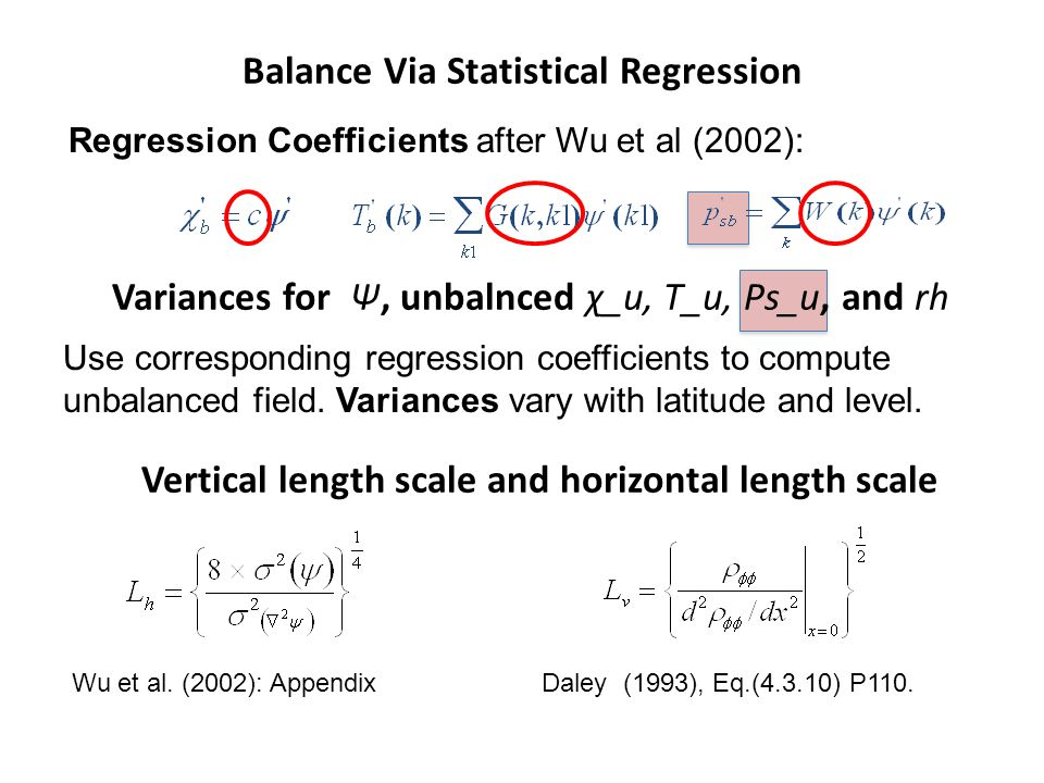 Balance Via Statistical Regression Regression Coefficients after Wu et al (2002): Variances for Ψ, unbalnced χ_u, T_u, Ps_u, and rh Use corresponding regression coefficients to compute unbalanced field.