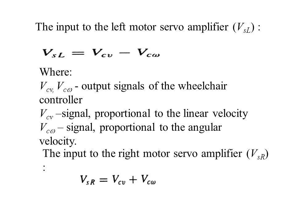 The input to the left motor servo amplifier (V sL ) : Where: V cv, V c - output signals of the wheelchair controller V cv –signal, proportional to the linear velocity V c – signal, proportional to the angular velocity.