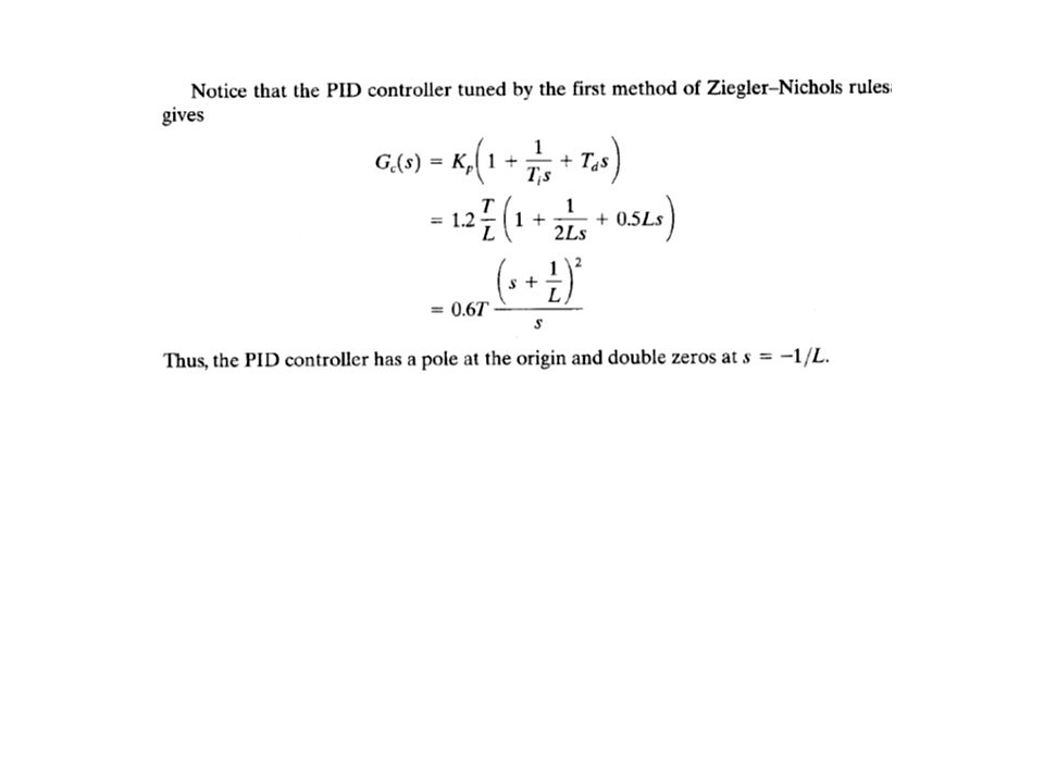 Ziegler-Nichols 2 nd Method of Tuning Rule 1.We first set T i = and T d = 0.
