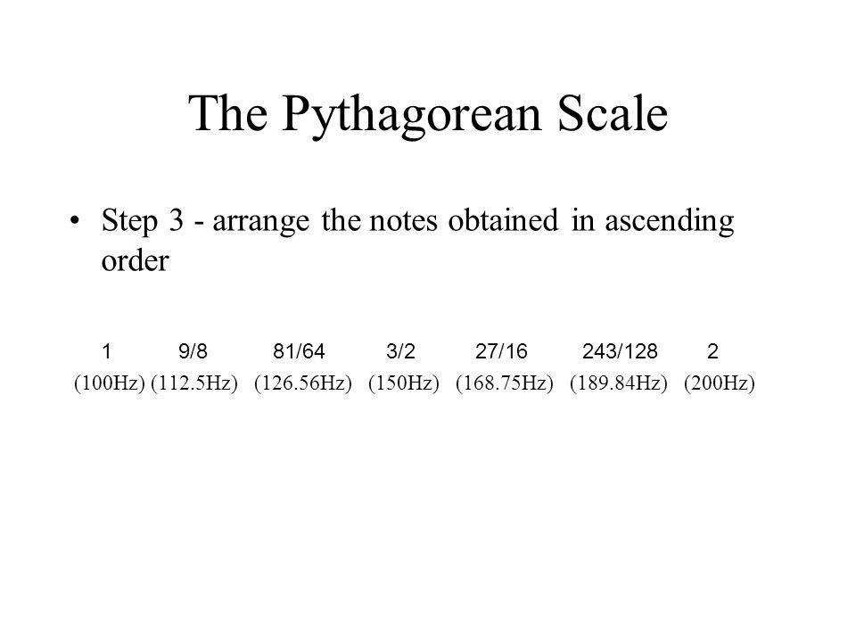 The Pythagorean Scale Step 3 - arrange the notes obtained in ascending order 1 9/8 81/64 3/2 27/16 243/128 2 (100Hz) (112.5Hz) (126.56Hz) (150Hz) (168.75Hz) (189.84Hz) (200Hz)