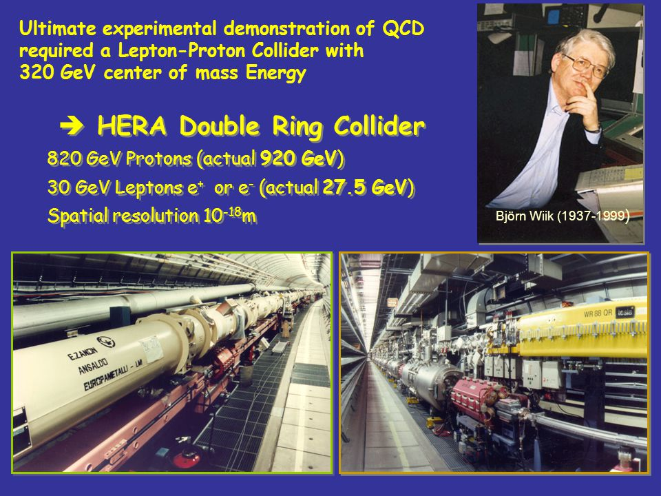 3 HERA Double Ring Collider 820 GeV Protons (actual 920 GeV) 30 GeV Leptons e + or e - (actual 27.5 GeV) Spatial resolution 10 -18 m HERA Double Ring Collider 820 GeV Protons (actual 920 GeV) 30 GeV Leptons e + or e - (actual 27.5 GeV) Spatial resolution 10 -18 m Björn Wiik (1937-1999 ) Ultimate experimental demonstration of QCD required a Lepton-Proton Collider with 320 GeV center of mass Energy