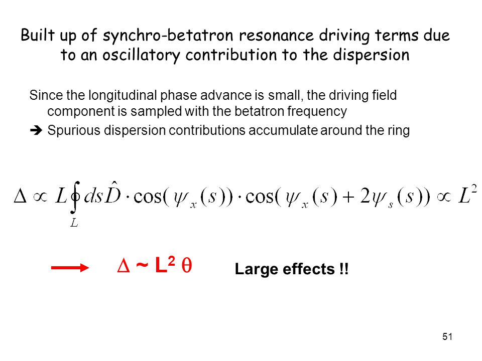 51 Built up of synchro-betatron resonance driving terms due to an oscillatory contribution to the dispersion Since the longitudinal phase advance is s