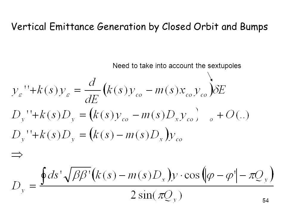 54 Vertical Emittance Generation by Closed Orbit and Bumps Need to take into account the sextupoles