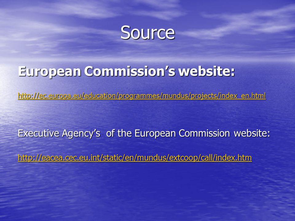Source European Commissions website: http://ec.europa.eu/education/programmes/mundus/projects/index_en.html Executive Agencys of the European Commission website: http://eacea.cec.eu.int/static/en/mundus/extcoop/call/index.htm