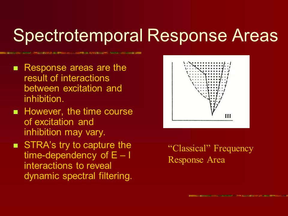 Spectrotemporal Response Areas Response areas are the result of interactions between excitation and inhibition.