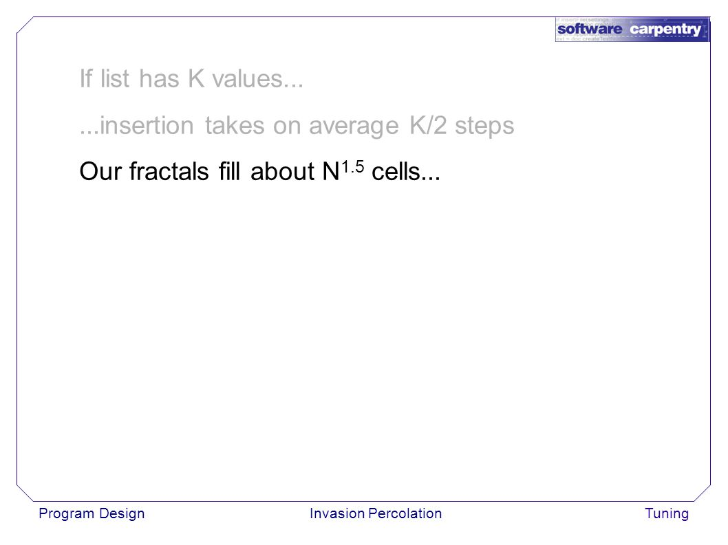 Program DesignInvasion PercolationTuning If list has K values......insertion takes on average K/2 steps Our fractals fill about N 1.5 cells...