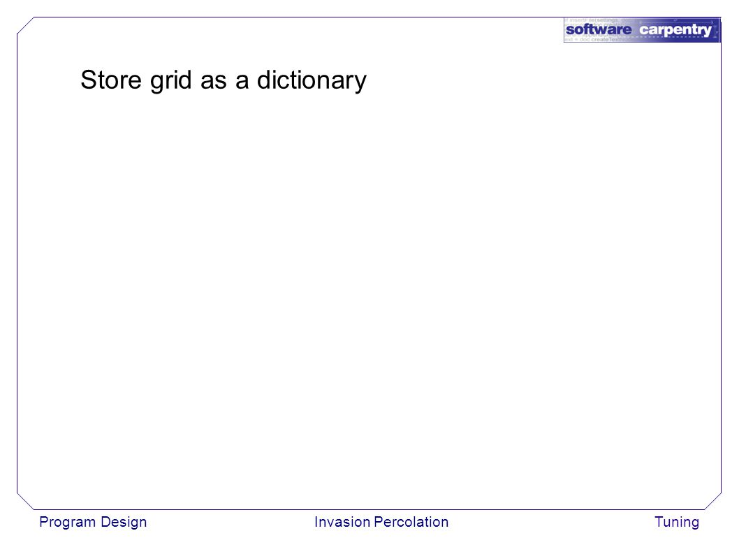 Program DesignInvasion PercolationTuning Store grid as a dictionary