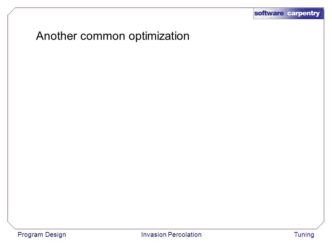 Program DesignInvasion PercolationTuning Another common optimization