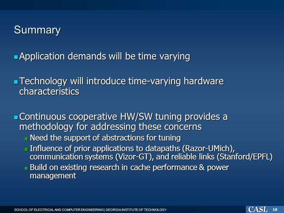 SCHOOL OF ELECTRICAL AND COMPUTER ENGINEERING | GEORGIA INSTITUTE OF TECHNOLOGY 18 Summary Application demands will be time varying Application demands will be time varying Technology will introduce time-varying hardware characteristics Technology will introduce time-varying hardware characteristics Continuous cooperative HW/SW tuning provides a methodology for addressing these concerns Continuous cooperative HW/SW tuning provides a methodology for addressing these concerns Need the support of abstractions for tuning Need the support of abstractions for tuning Influence of prior applications to datapaths (Razor-UMich), communication systems (Vizor-GT), and reliable links (Stanford/EPFL) Influence of prior applications to datapaths (Razor-UMich), communication systems (Vizor-GT), and reliable links (Stanford/EPFL) Build on existing research in cache performance & power management Build on existing research in cache performance & power management
