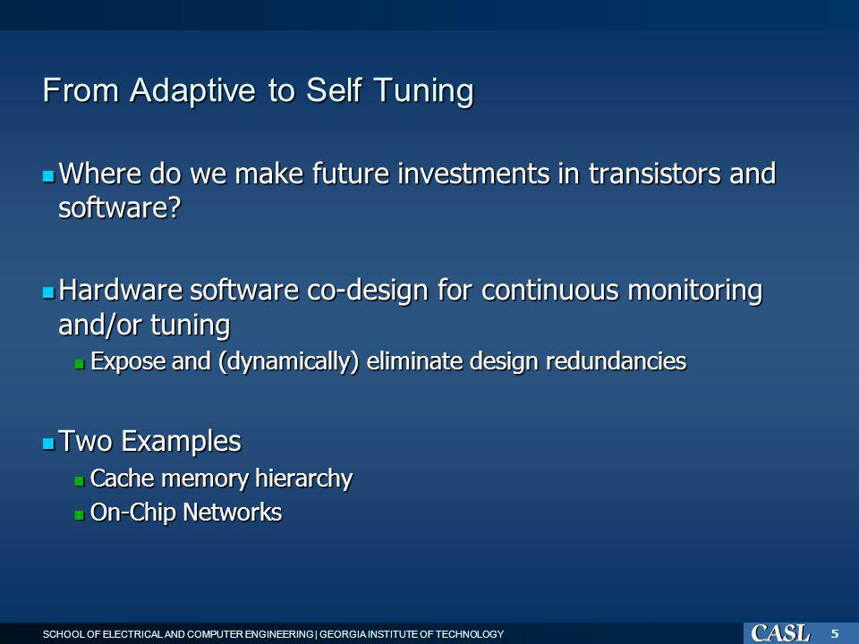 SCHOOL OF ELECTRICAL AND COMPUTER ENGINEERING | GEORGIA INSTITUTE OF TECHNOLOGY 5 From Adaptive to Self Tuning Where do we make future investments in transistors and software.