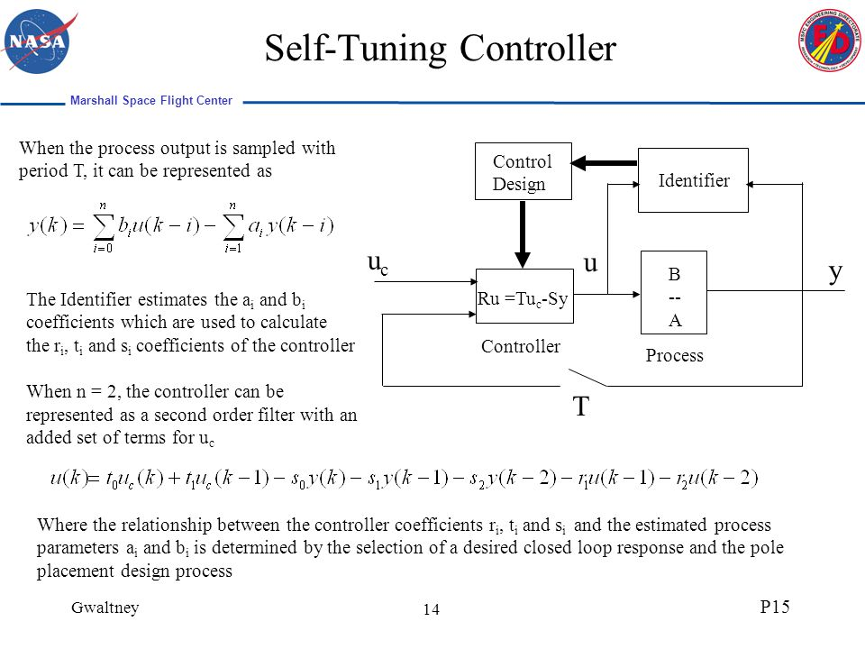 Marshall Space Flight Center Gwaltney P15 14 Self-Tuning Controller When the process output is sampled with period T, it can be represented as ucuc y u Identifier Control Design Ru =Tu c -Sy B -- A Process Controller T The Identifier estimates the a i and b i coefficients which are used to calculate the r i, t i and s i coefficients of the controller When n = 2, the controller can be represented as a second order filter with an added set of terms for u c Where the relationship between the controller coefficients r i, t i and s i and the estimated process parameters a i and b i is determined by the selection of a desired closed loop response and the pole placement design process