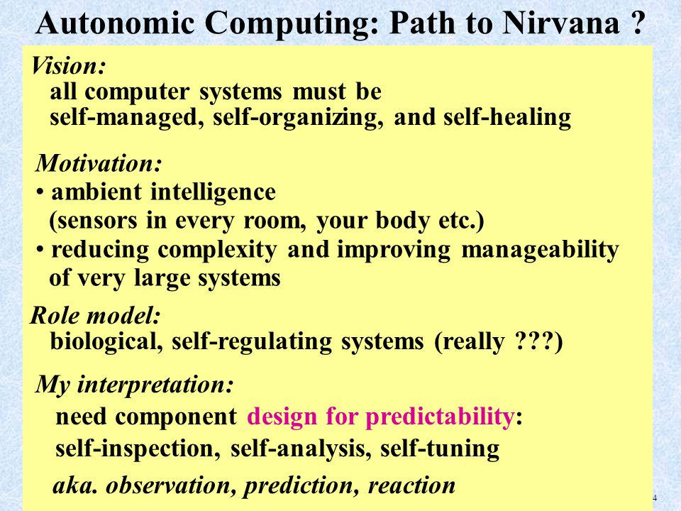 24 Autonomic Computing: Path to Nirvana .