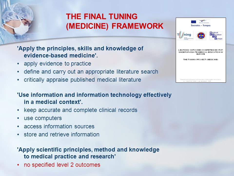 'Apply the principles, skills and knowledge of evidence-based medicine'. apply evidence to practice define and carry out an appropriate literature sea
