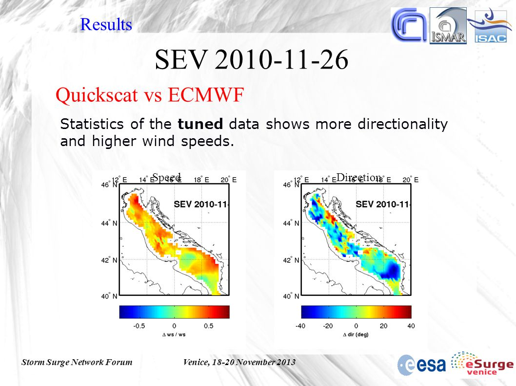 Storm Surge Network ForumVenice, 18-20 November 2013 Statistics of the tuned data shows more directionality and higher wind speeds.