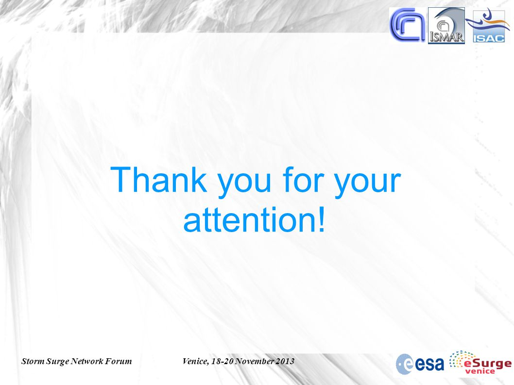 Storm Surge Network ForumVenice, 18-20 November 2013 Thank you for your attention!