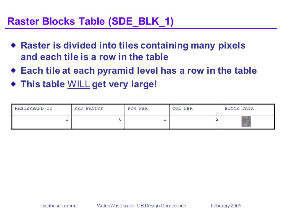 Database TuningWater/Wastewater DB Design Conference February 2005 Raster Blocks Table (SDE_BLK_1) Raster is divided into tiles containing many pixels