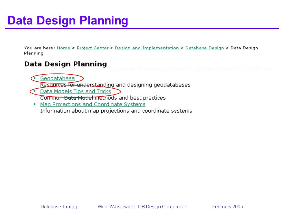 Database TuningWater/Wastewater DB Design Conference February 2005 Data Design Planning