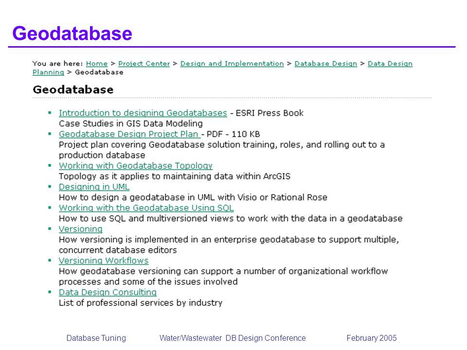 Database TuningWater/Wastewater DB Design Conference February 2005 Geodatabase
