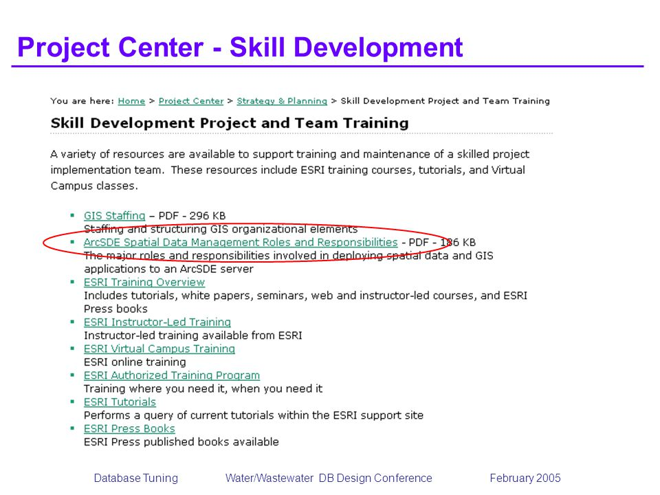 Database TuningWater/Wastewater DB Design Conference February 2005 Project Center - Skill Development
