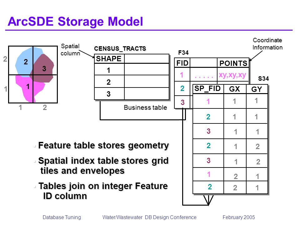 Database TuningWater/Wastewater DB Design Conference February 2005 FID POINTS CoordinateInformation 1 2 3..... xy,xy,xy..... xy,xy,xy ArcSDE Storage M