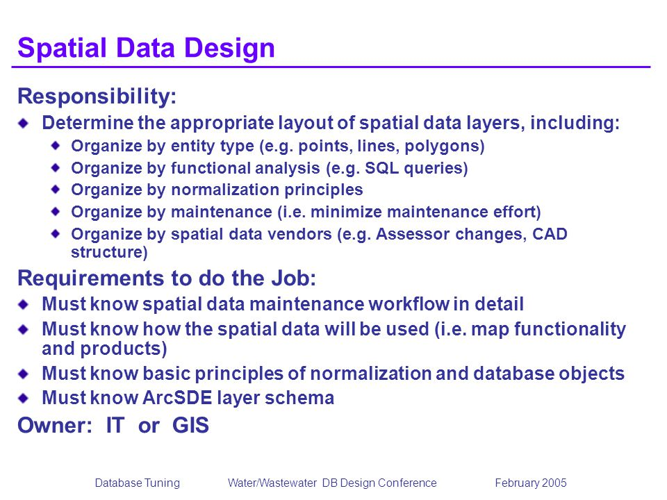 Database TuningWater/Wastewater DB Design Conference February 2005 Spatial Data Design Responsibility: Determine the appropriate layout of spatial dat