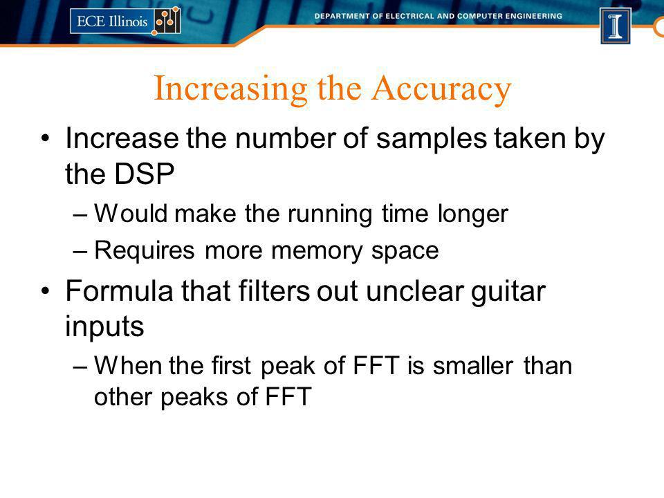 Increasing the Accuracy Increase the number of samples taken by the DSP –Would make the running time longer –Requires more memory space Formula that f
