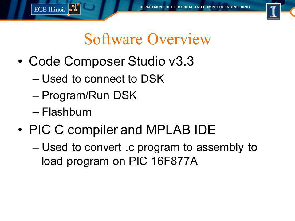 Software Overview Code Composer Studio v3.3 –Used to connect to DSK –Program/Run DSK –Flashburn PIC C compiler and MPLAB IDE –Used to convert.c progra