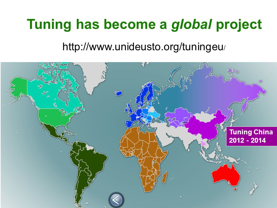 Tuning China 2012 - 2014 Tuning has become a global project http://www.unideusto.org/tuningeu /