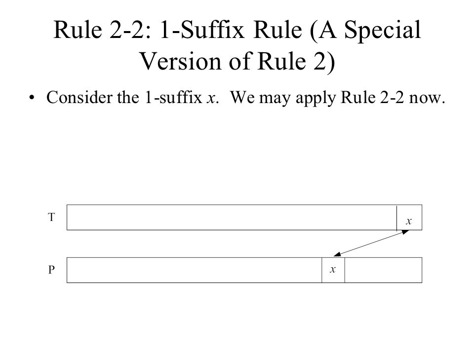 Rule 2-2: 1-Suffix Rule (A Special Version of Rule 2) Consider the 1-suffix x.