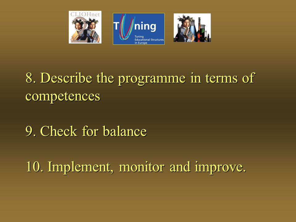 8. Describe the programme in terms of competences 9.