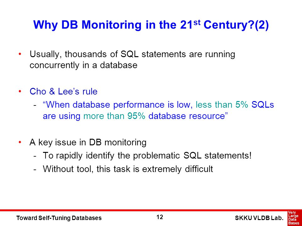 12 SKKU VLDB Lab.Toward Self-Tuning Databases Why DB Monitoring in the 21 st Century?(2) Usually, thousands of SQL statements are running concurrently
