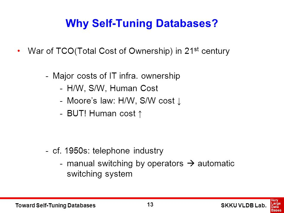 13 SKKU VLDB Lab.Toward Self-Tuning Databases Why Self-Tuning Databases? War of TCO(Total Cost of Ownership) in 21 st century -Major costs of IT infra