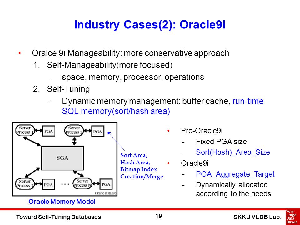 19 SKKU VLDB Lab.Toward Self-Tuning Databases Industry Cases(2): Oracle9i Oralce 9i Manageability: more conservative approach 1.Self-Manageability(mor