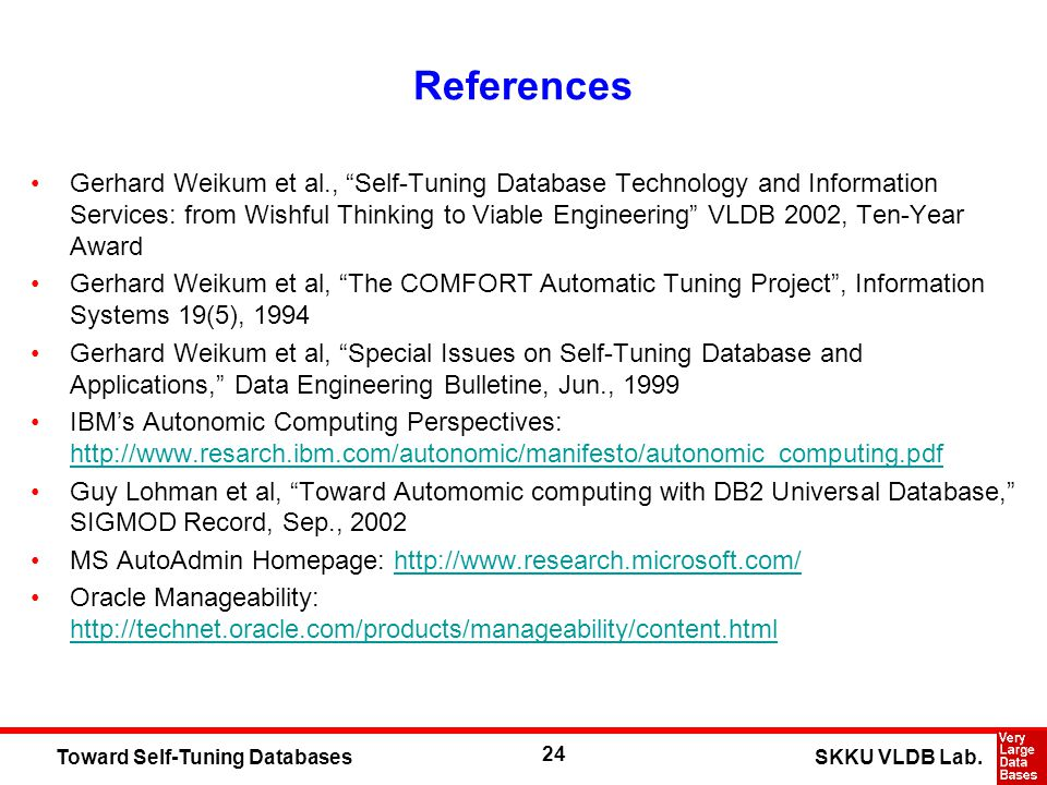 24 SKKU VLDB Lab.Toward Self-Tuning Databases References Gerhard Weikum et al., Self-Tuning Database Technology and Information Services: from Wishful Thinking to Viable Engineering VLDB 2002, Ten-Year Award Gerhard Weikum et al, The COMFORT Automatic Tuning Project, Information Systems 19(5), 1994 Gerhard Weikum et al, Special Issues on Self-Tuning Database and Applications, Data Engineering Bulletine, Jun., 1999 IBMs Autonomic Computing Perspectives: http://www.resarch.ibm.com/autonomic/manifesto/autonomic_computing.pdf http://www.resarch.ibm.com/autonomic/manifesto/autonomic_computing.pdf Guy Lohman et al, Toward Automomic computing with DB2 Universal Database, SIGMOD Record, Sep., 2002 MS AutoAdmin Homepage: http://www.research.microsoft.com/http://www.research.microsoft.com/ Oracle Manageability: http://technet.oracle.com/products/manageability/content.html http://technet.oracle.com/products/manageability/content.html