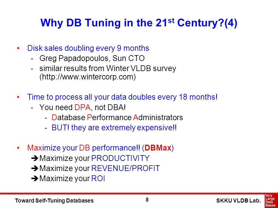 8 SKKU VLDB Lab.Toward Self-Tuning Databases Why DB Tuning in the 21 st Century?(4) Disk sales doubling every 9 months -Greg Papadopoulos, Sun CTO -si
