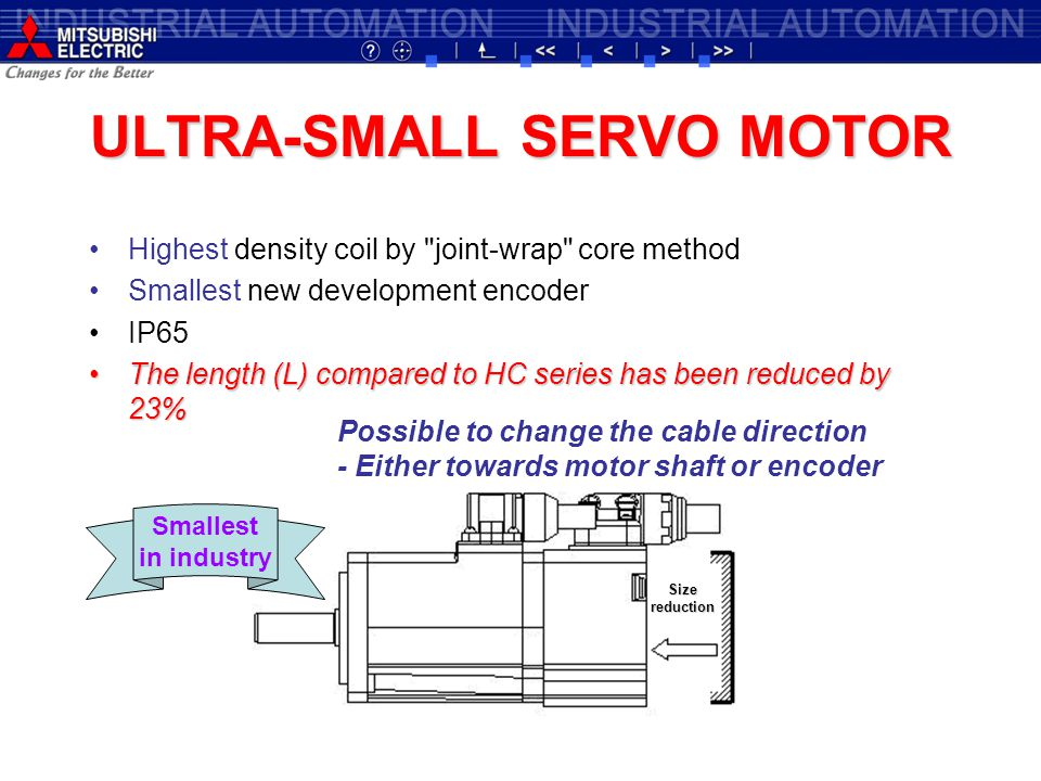ULTRA-SMALL SERVO MOTOR Highest density coil by joint-wrap core method Smallest new development encoder IP65 The length (L) compared to HC series has been reduced by 23%The length (L) compared to HC series has been reduced by 23% Sizereduction Possible to change the cable direction - Either towards motor shaft or encoder Smallest in industry